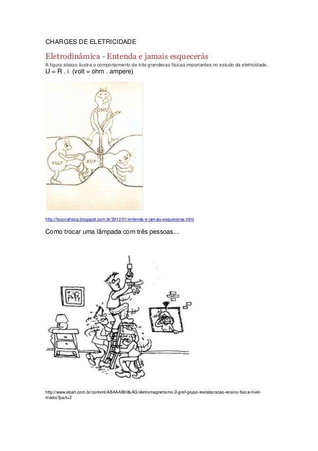 CHARGES DE ELETRICIDADE Eletrodinâmica - Entenda e jamais esquecerás A figura abaixo ilustra o comportamento de três grand...