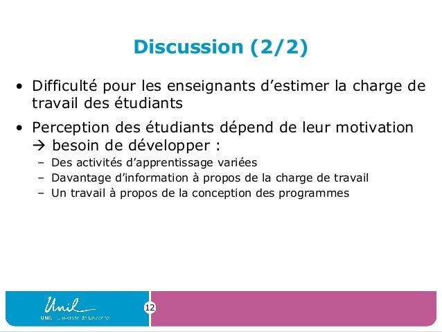 Discussion (2/2)• Difficulté pour les enseignants d'estimer la charge detravail des étudiants• Perception des étudiants dé...