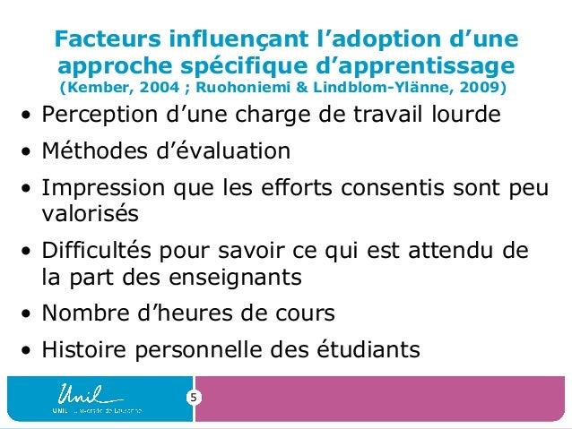 5Facteurs influençant l'adoption d'uneapproche spécifique d'apprentissage(Kember, 2004 ; Ruohoniemi & Lindblom-Ylänne, 200...