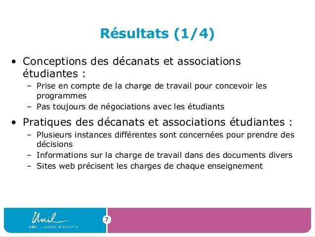 Résultats (1/4)• Conceptions des décanats et associationsétudiantes :– Prise en compte de la charge de travail pour concev...