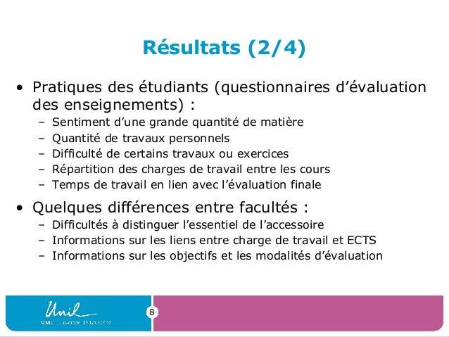 Résultats (2/4)• Pratiques des étudiants (questionnaires d'évaluationdes enseignements) :– Sentiment d'une grande quantité...