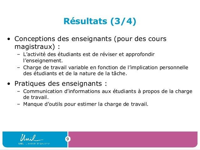 Résultats (3/4)• Conceptions des enseignants (pour des coursmagistraux) :– L'activité des étudiants est de réviser et appr...