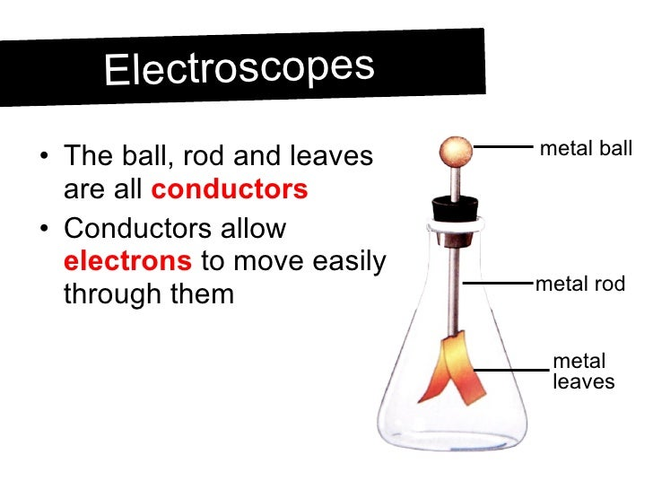 <ul><li>The ball, rod and leaves are all  conductors </li></ul><ul><li>Conductors allow  electrons  to move easily through...