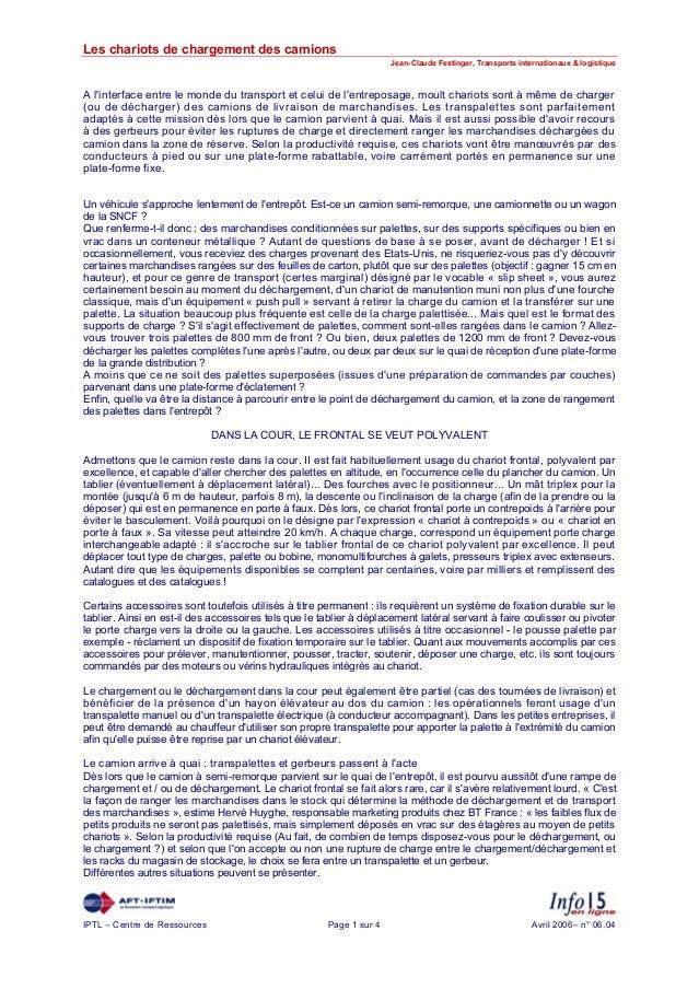 Les chariots de chargement des camions Jean-Claude Festinger, Transports internationaux & logistique  A l'interface entre ...