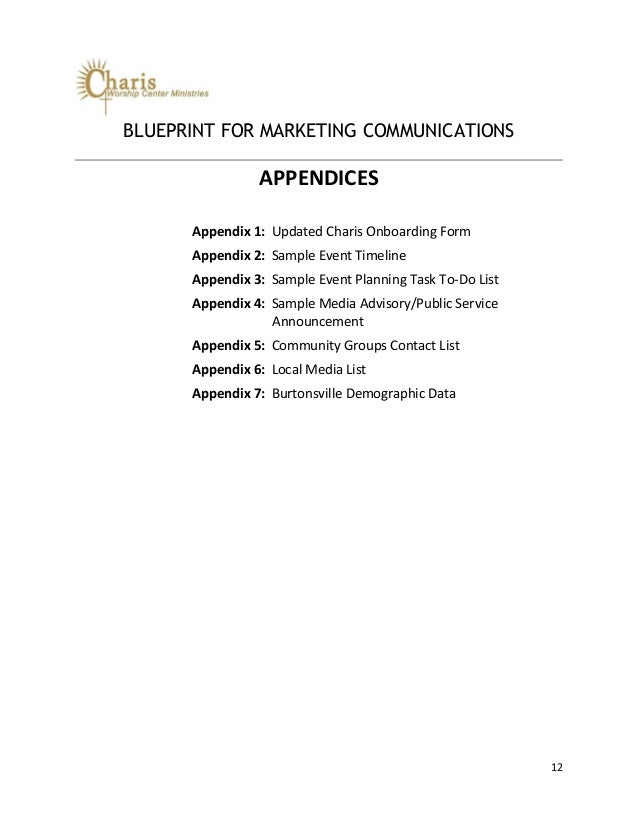 Blueprint for marketing communications at charis worship center minis blueprint malvernweather Images