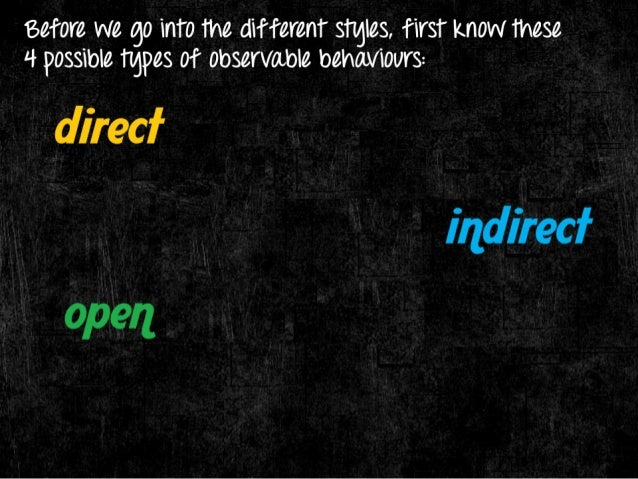 eefore we go into the different stgles,  first know these  4 possible tgpes of observable behaviours:   - Have a tendency ...