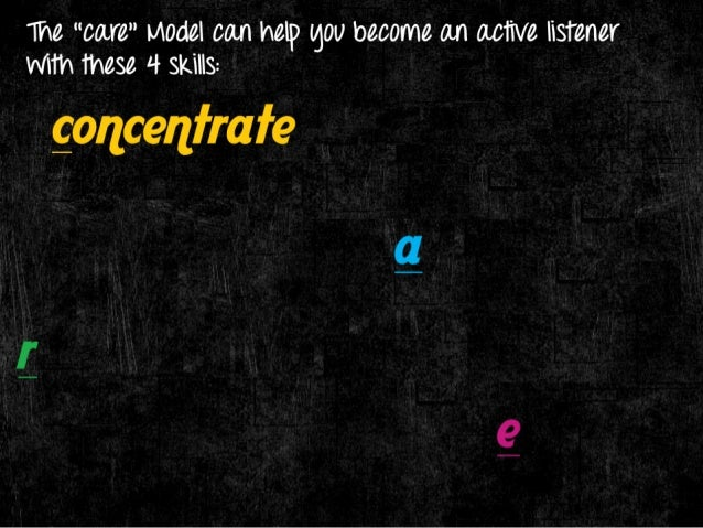 """The """"care"""" I/ OdeI can help gOU become an active listener WITh these 4 skills:   goncenlrafe  gchno wledge  [esearch  I 'D"""