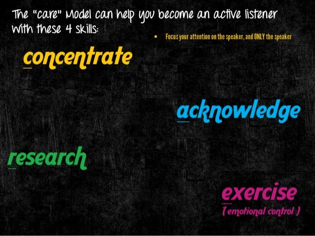 "The ""car "" I/ IOdel can help gOU become an active listener WlTh these 4 skills:   I Focusyour attention on the speaker,  a..."