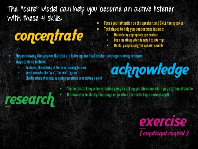 "The ""care"" I/ IOdel can help gOll become an active listener WlTh these 4 skills:   I Focusyour attention on the speaker,  ..."