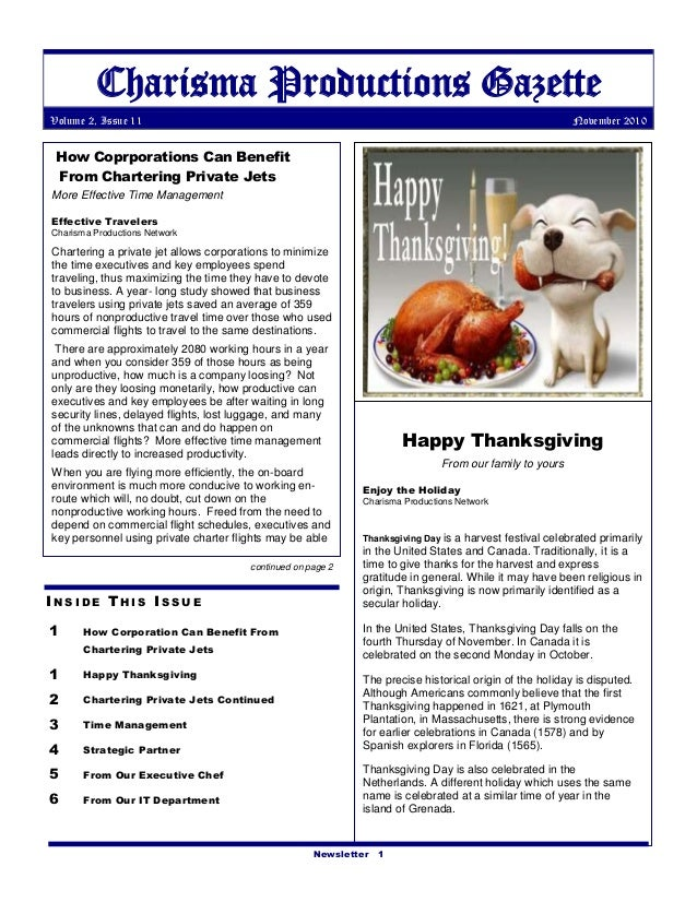 Newsletter 1 Charisma Productions Gazette Volume 2, Issue 11 November 2010 I N S I D E T H I S I S S U E 1 How Corporation...