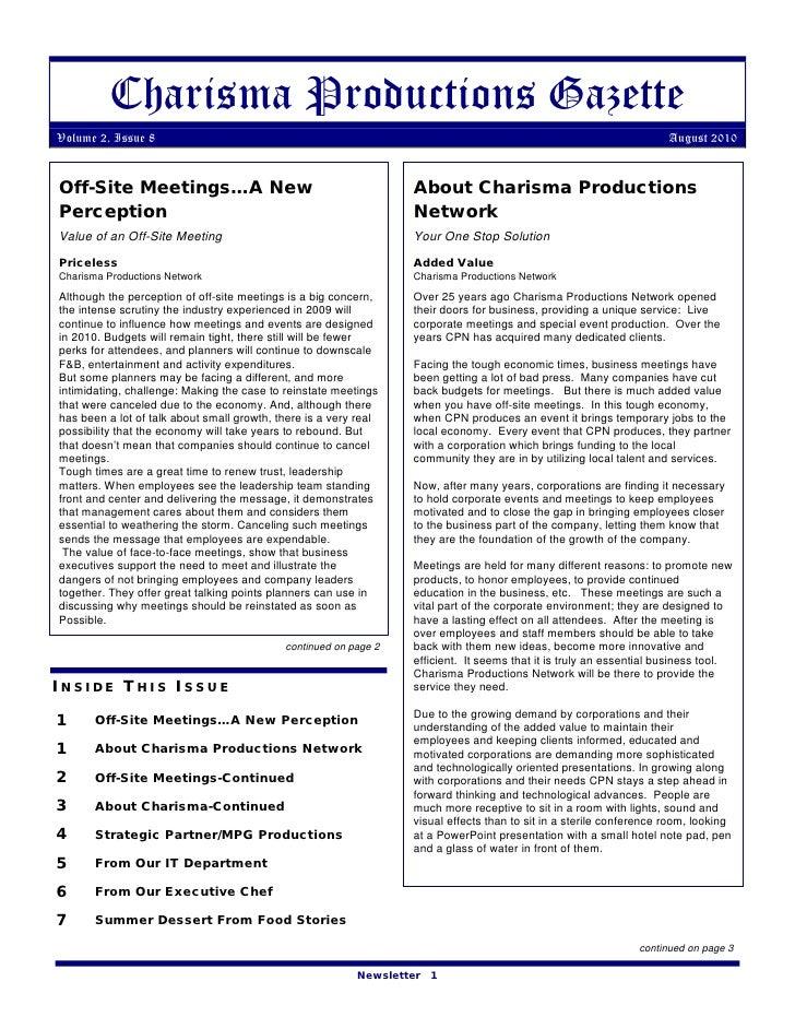 Charisma Productions Gazette Volume 2, Issue 8                                                                            ...