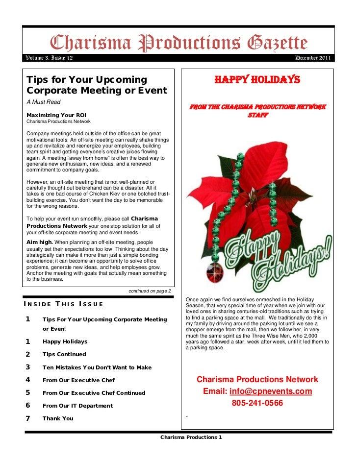 Charisma Productions GazetteVolume 3, Issue 12                                                                            ...
