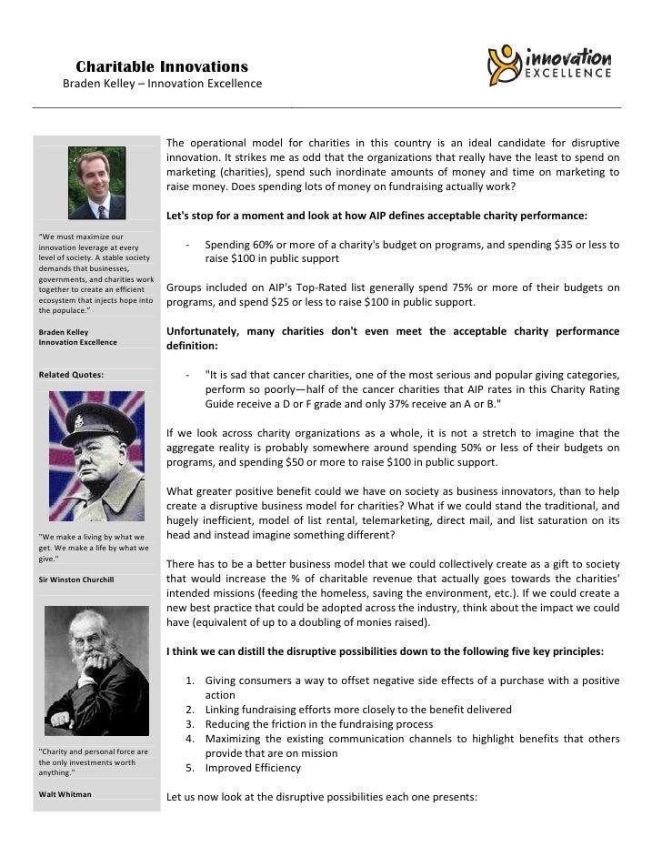 Charitable Innovations       Braden Kelley – Innovation Excellence                                     The operational mod...