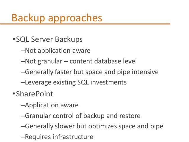 SharePoint Backup best Practices