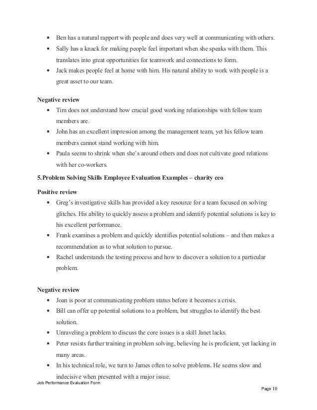 Interpersonal Skills Performance Review Phrases U2013 Charity Ceo Positive  Review Job Performance Evaluation Form Page 9; 10.