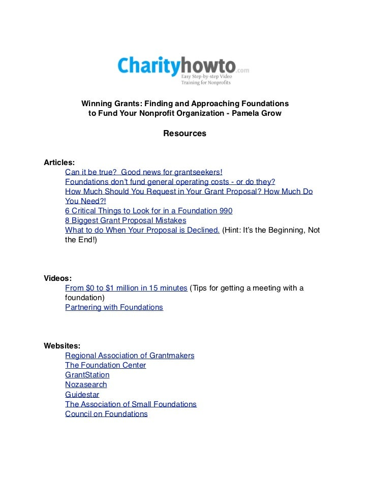 Winning Grants: Finding and Approaching Foundations           to Fund Your Nonprofit Organization - Pamela Grow            ...