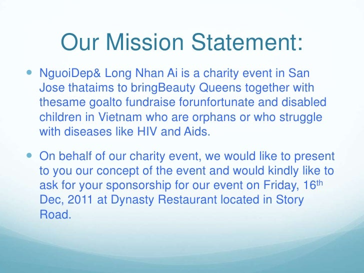 Charity presentation