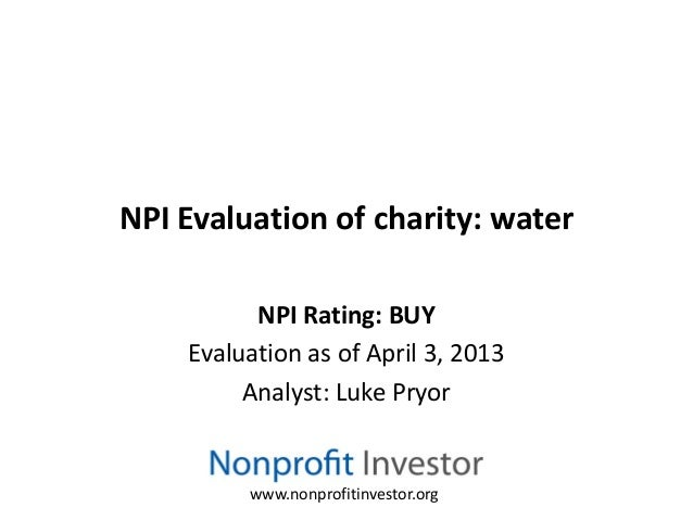 Charity water Rating Summary – Charity Evaluation
