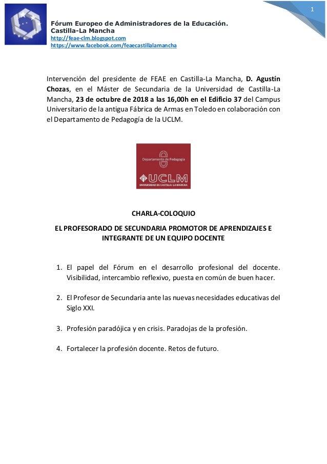 F�rum Europeo de Administradores de la Educaci�n. Castilla-La Mancha http://feae-clm.blogspot.com https://www.facebook.com...