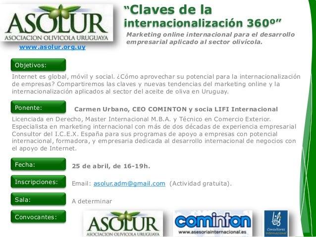 """""""Claves de la internacionalización 360º"""" Marketing online internacional para el desarrollo empresarial aplicado al sector ..."""