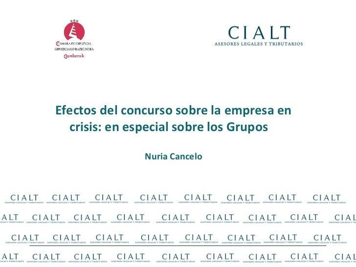 Efectos del concurso sobre la empresa en crisis: en especial sobre los Grupos  Nuria Cancelo