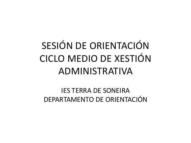 SESIÓN DE ORIENTACIÓNCICLO MEDIO DE XESTIÓN    ADMINISTRATIVA    IES TERRA DE SONEIRADEPARTAMENTO DE ORIENTACIÓN