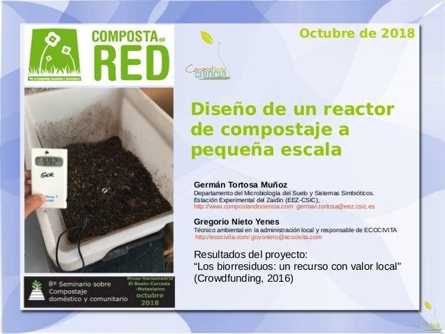 Diseño de un reactor de compostaje a pequeña escala Germán Tortosa Muñoz Departamento del Microbiología del Suelo y Sistem...