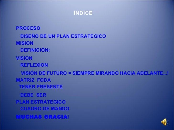 MISION VISIÓN DE FUTURO = SIEMPRE MIRANDO HACIA ADELANTE...! DISEÑO DE UN PLAN ESTRATEGICO PROCESO VISION REFLEXION MATRIZ...