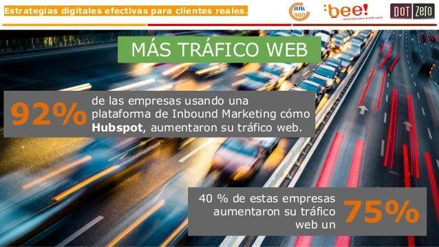 Estrategias digitales efectivas para clientes reales. MÁS TRÁFICO WEB 92% de las empresas usando una plataforma de Inbound...