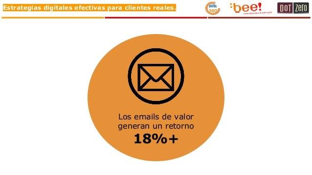 Estrategias digitales efectivas para clientes reales. Los emails de valor generan un retorno 18%+