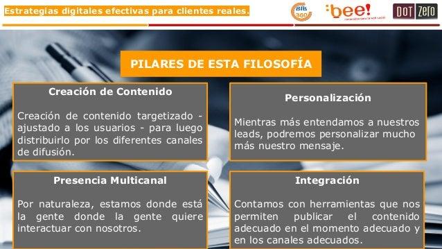 Estrategias digitales efectivas para clientes reales. PILARES DE ESTA FILOSOFÍA Creación de Contenido Creación de contenid...