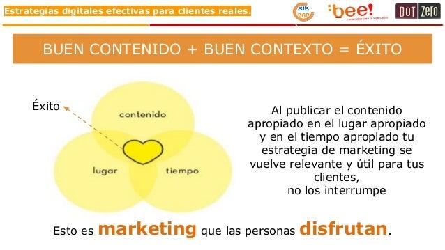 Estrategias digitales efectivas para clientes reales. BUEN CONTENIDO + BUEN CONTEXTO = ÉXITO Al publicar el contenido apro...