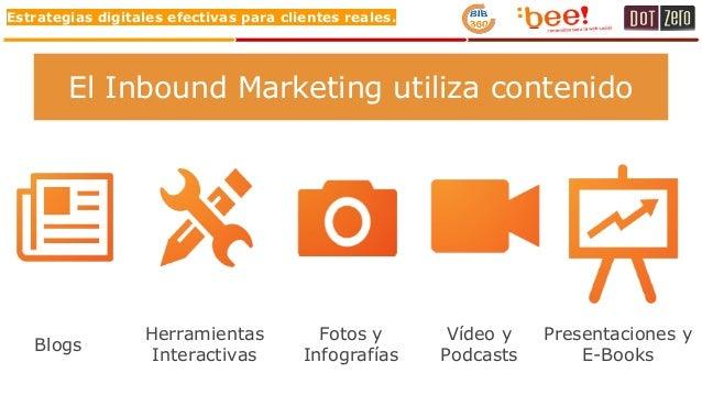 Estrategias digitales efectivas para clientes reales. Blogs Herramientas Interactivas Fotos y Infografías Vídeo y Podcasts...