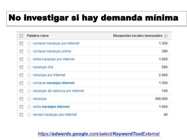 No investigar si hay demanda mínima      https://adwords.google.com/select/KeywordToolExternal