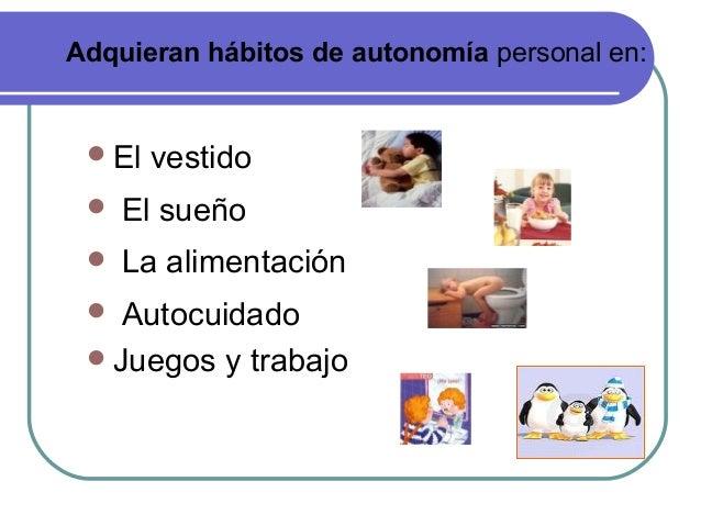 El vestido  El sueño  La alimentación  Autocuidado Juegos y trabajo Adquieran hábitos de autonomía personal en: