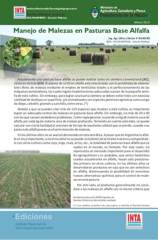 InstitutoNacionaldeTecnologíaAgropecuaria CENTRO REGIONAL CORDOBA EEA MANFREDI – Sección Malezas Marzo 2014 Actualmente un...