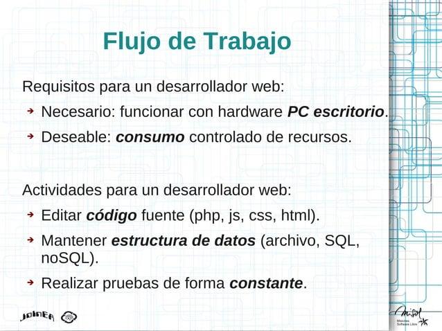Flujo de Trabajo Requisitos para un desarrollador web: ➔ Necesario: funcionar con hardware PC escritorio. ➔ Deseable: cons...