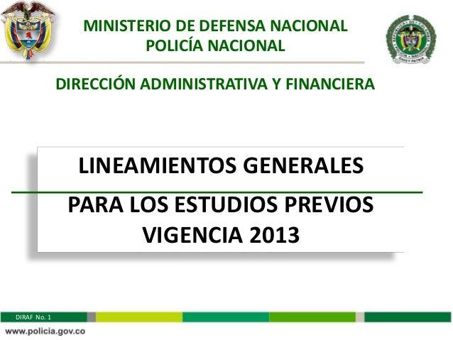 MINISTERIO DE DEFENSA NACIONAL                        POLICÍA NACIONAL              DIRECCIÓN ADMINISTRATIVA Y FINANCIERA ...