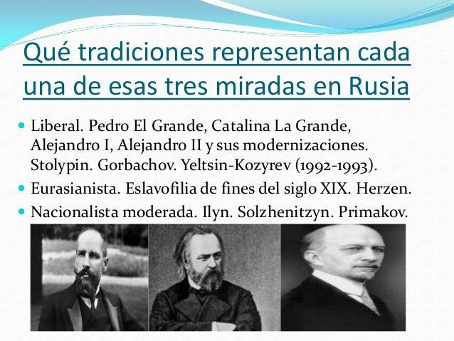 Intérpretes actuales de las 3 tradiciones en Rusia  Garry Kasparov. Mikhail Khodorkovsky. Alexey Navalny. Dmitri Trenin. ...