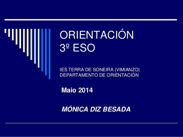 ORIENTACIÓN 3º ESO IES TERRA DE SONEIRA (VIMIANZO) DEPARTAMENTO DE ORIENTACIÓN Maio 2014 MÓNICA DIZ BESADA