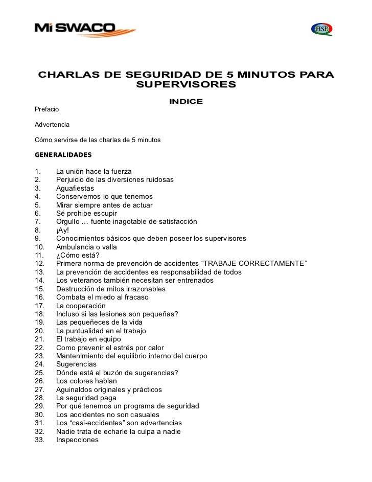 CHARLAS DE SEGURIDAD DE 5 MINUTOS PARA             SUPERVISORES                                            INDICEPrefacioA...