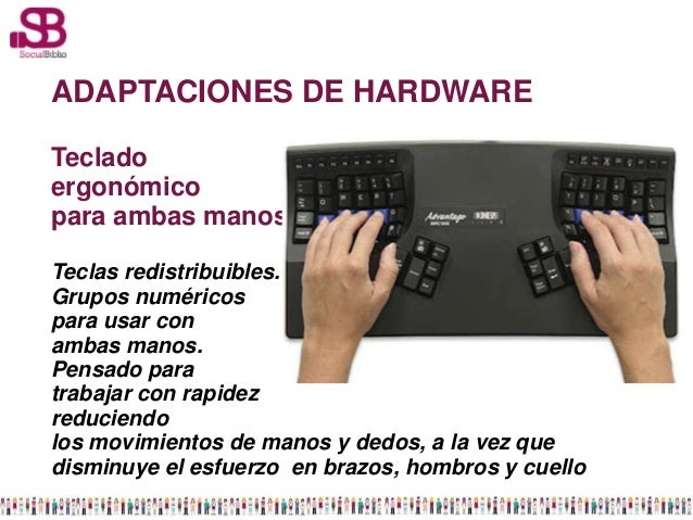 ADAPTACIONES DE HARDWARETecladoergonómicopara ambas manosTeclas redistribuibles.Grupos numéricospara usar conambas manos.P...