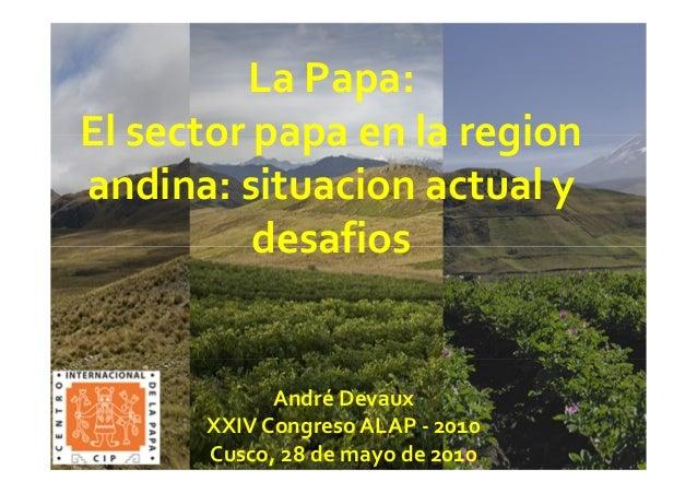 La Papa: El sector papa en la region andina: situacion actual y desafios André Devaux XXIV Congreso ALAP - 2010 Cusco, 28 ...