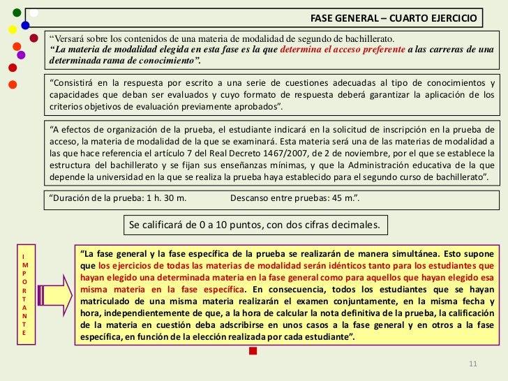 """FASE GENERAL – CUARTO EJERCICIO    """"Versará sobre los contenidos de una materia de modalidad de segundo de bachillerato.  ..."""