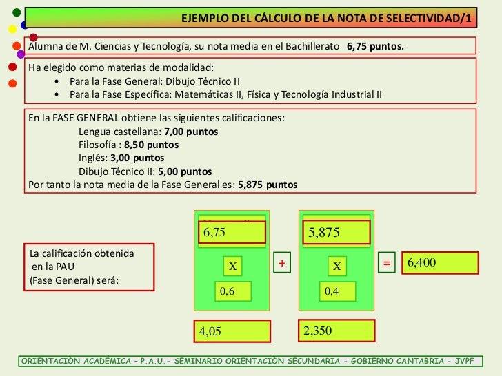 EJEMPLO DEL CÁLCULO DE LA NOTA DE SELECTIVIDAD/1 Alumna de M. Ciencias y Tecnología, su nota media en el Bachillerato 6,75...