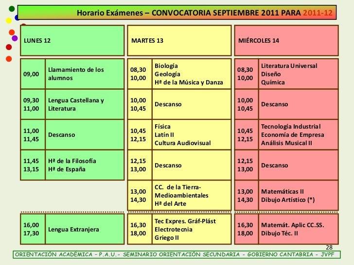 Horario Exámenes – CONVOCATORIA SEPTIEMBRE 2011 PARA 2011-12  LUNES 12                       MARTES 13                    ...