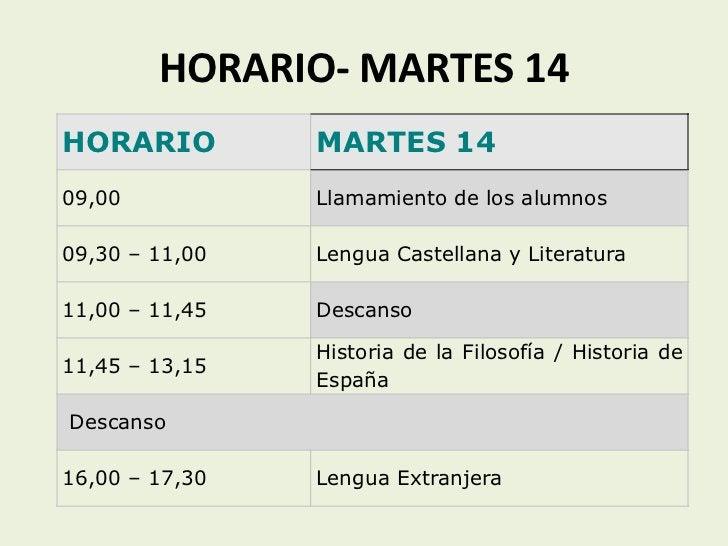 HORARIO- MARTES 14HORARIO         MARTES 1409,00           Llamamiento de los alumnos09,30 – 11,00   Lengua Castellana y L...