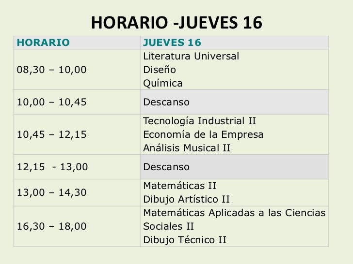 HORARIO -JUEVES 16HORARIO              JUEVES 16                     Literatura Universal08,30 – 10,00        Diseño      ...