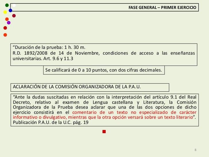 """FASE GENERAL – PRIMER EJERCICIO""""Duración de la prueba: 1 h. 30 m.R.D. 1892/2008 de 14 de Noviembre, condiciones de acceso ..."""