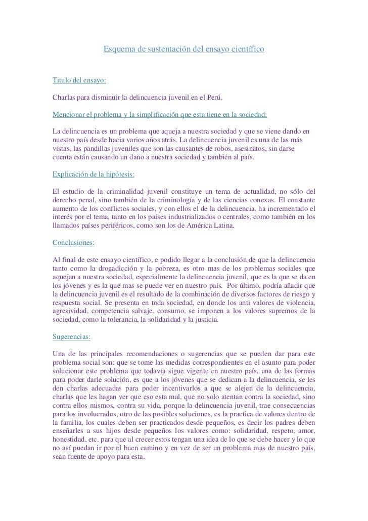 Esquema de sustentación del ensayo científico<br />Titulo del ensayo:<br />Charlas para disminuir la delincuencia juvenil ...